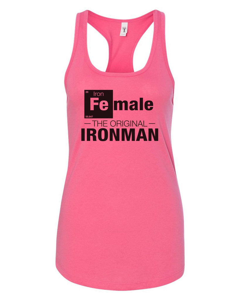 Womens Female-The original- IronMan Grapahic Design Fitted Tank Top Funny Shirt Small / Fuchsia