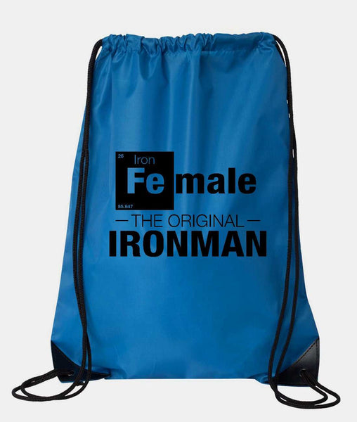 "Drawstring Gym Bag  ""Female - The Original Ironman""  Funny Workout Squatting Gift Funny Shirt Blue Nylon Bag 14"" x 18"""