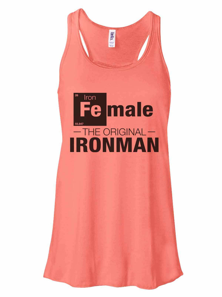 Female - The Original Ironman - Bella Canvas Womens Tank Top - Gathered Back & Super Soft Funny Shirt Small / Coral
