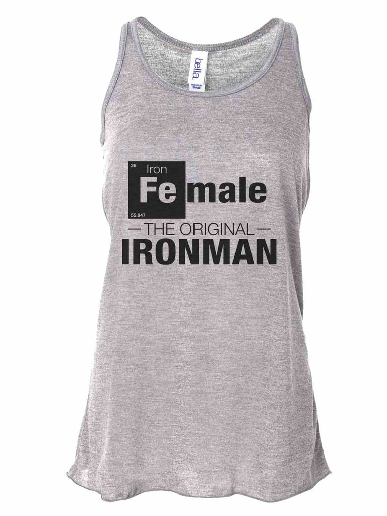Female - The Original Ironman - Bella Canvas Womens Tank Top - Gathered Back & Super Soft Funny Shirt Small / Gray