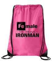 "Drawstring Gym Bag  ""Female - The Original Ironman""  Funny Workout Squatting Gift Funny Shirt Pink Nylon Bag 14"" x 18"""