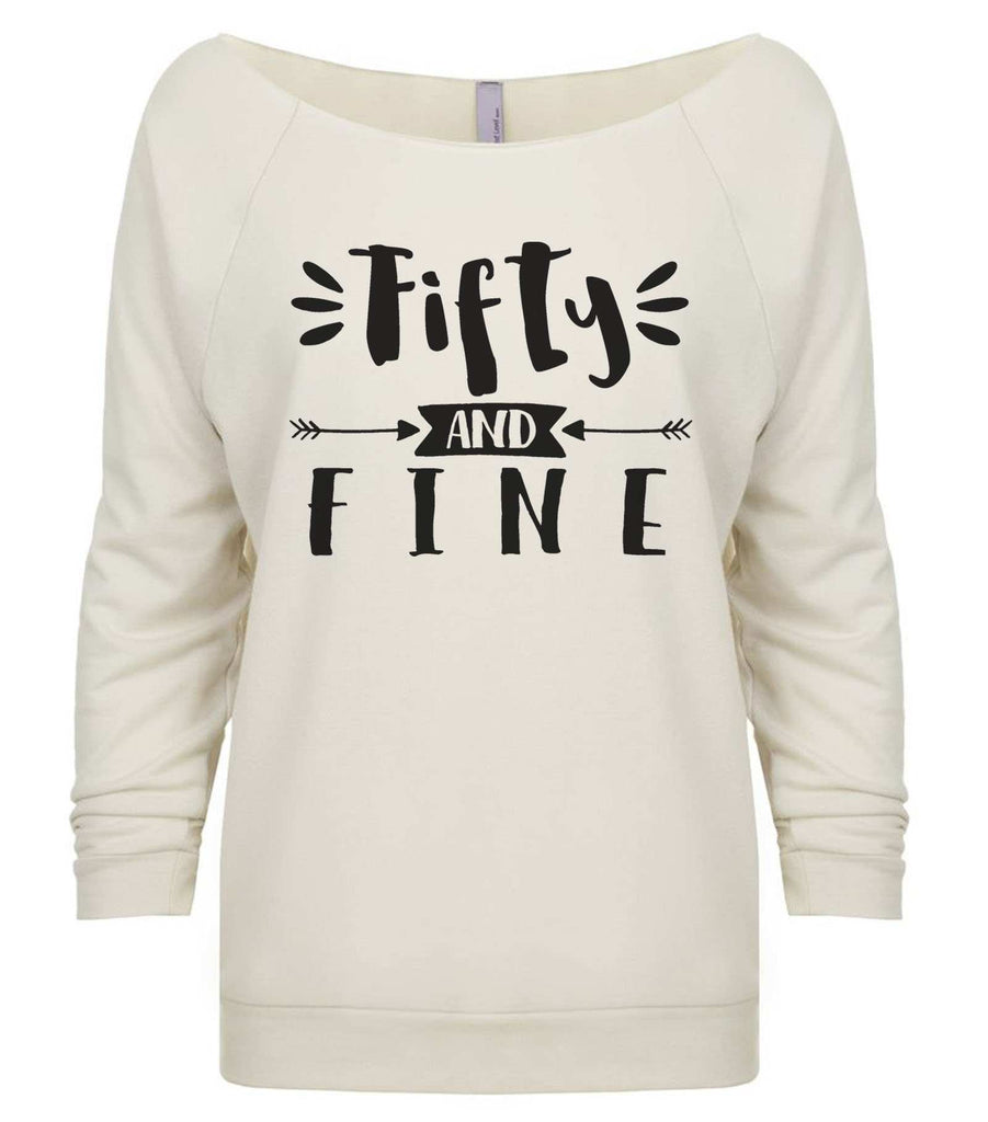 Fifty And Fine 3/4 Sleeve Raw Edge French Terry Cut - Dolman Style Very Trendy Funny Shirt Small / Beige
