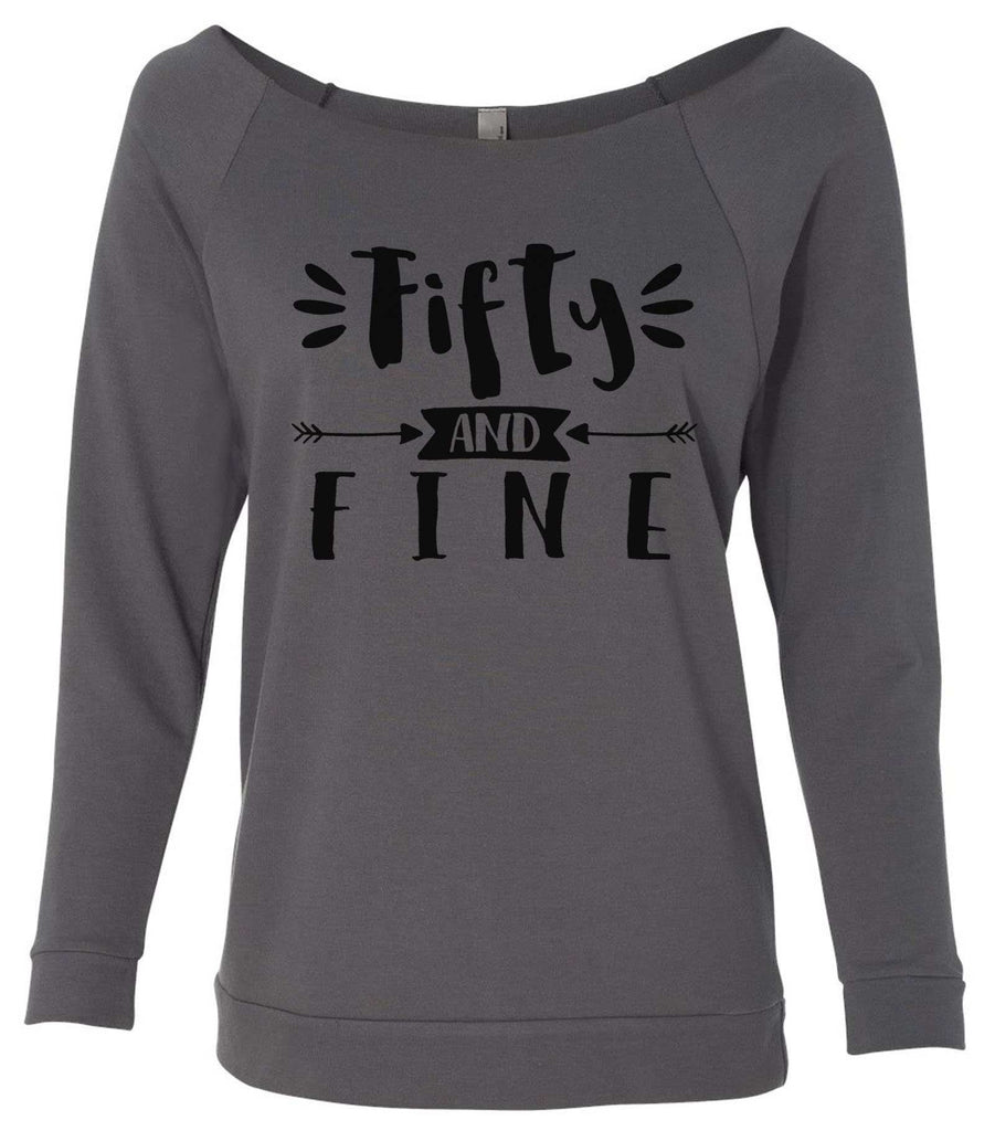 Fifty And Fine 3/4 Sleeve Raw Edge French Terry Cut - Dolman Style Very Trendy Funny Shirt Small / Charcoal Dark Gray