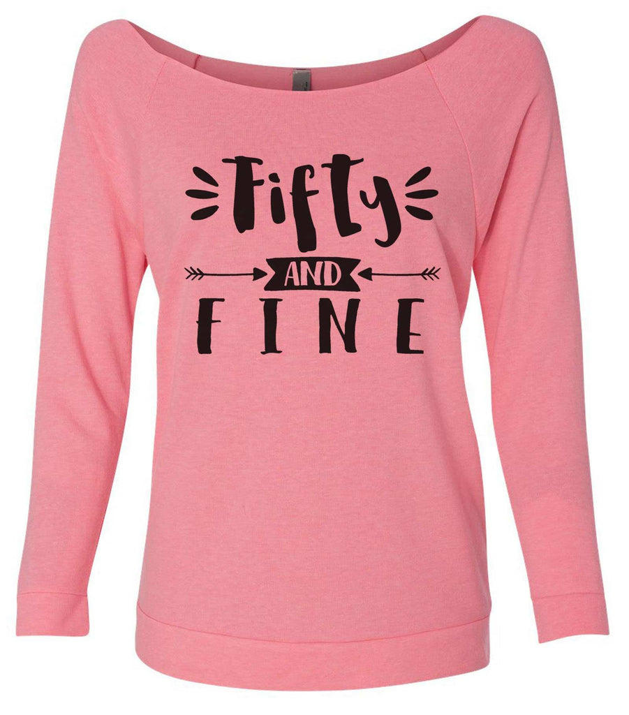 Fifty And Fine 3/4 Sleeve Raw Edge French Terry Cut - Dolman Style Very Trendy Funny Shirt Small / Pink
