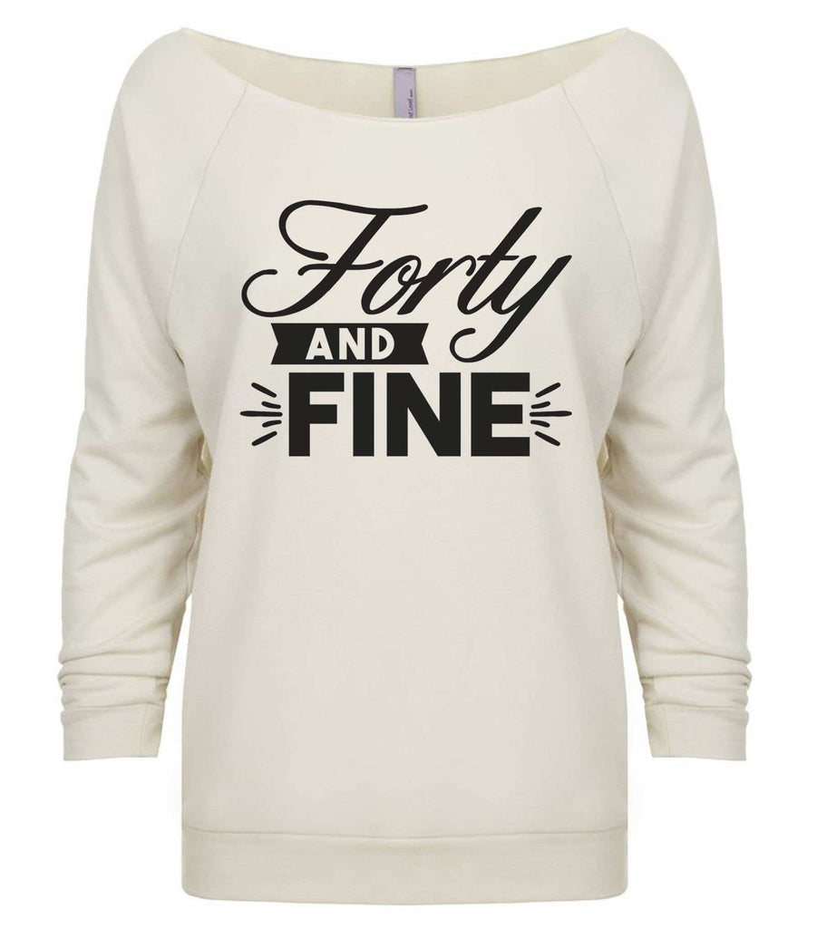 Forty And Fine 3/4 Sleeve Raw Edge French Terry Cut - Dolman Style Very Trendy Funny Shirt Small / Beige