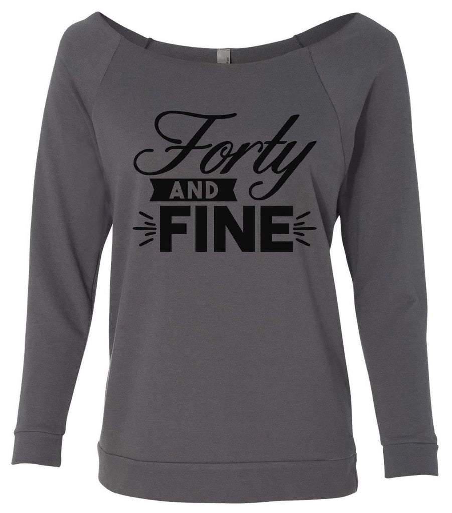Forty And Fine 3/4 Sleeve Raw Edge French Terry Cut - Dolman Style Very Trendy Funny Shirt Small / Charcoal Dark Gray