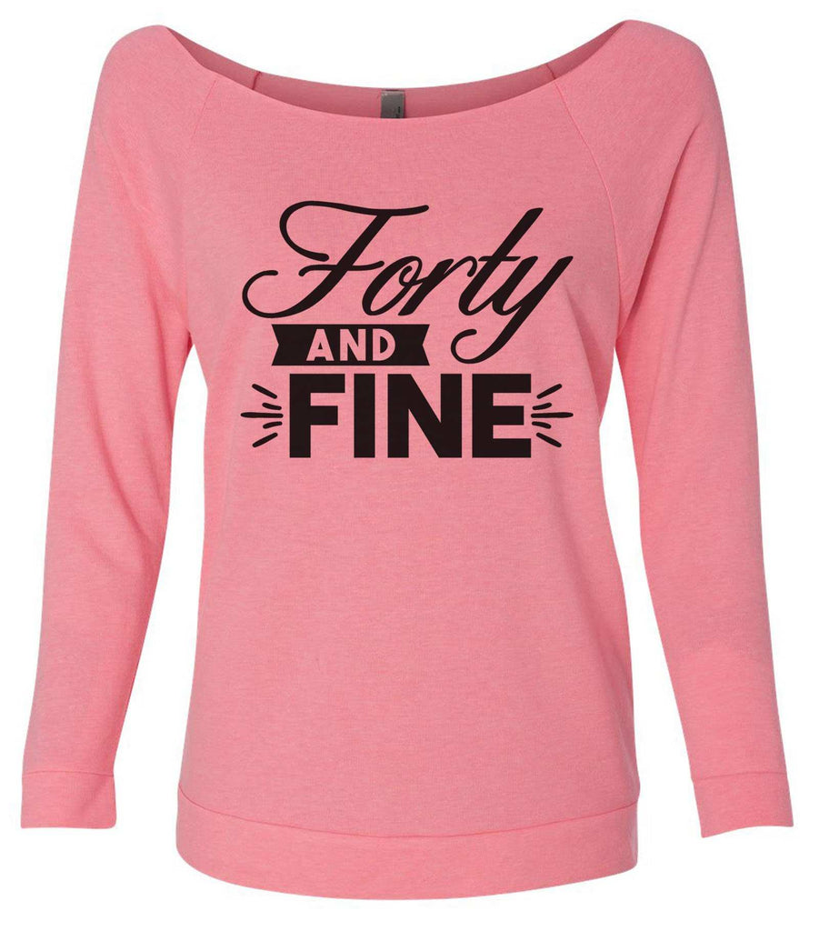 Forty And Fine 3/4 Sleeve Raw Edge French Terry Cut - Dolman Style Very Trendy Funny Shirt Small / Pink