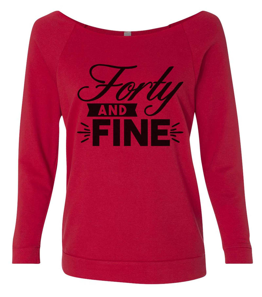 Forty And Fine 3/4 Sleeve Raw Edge French Terry Cut - Dolman Style Very Trendy Funny Shirt Small / Red