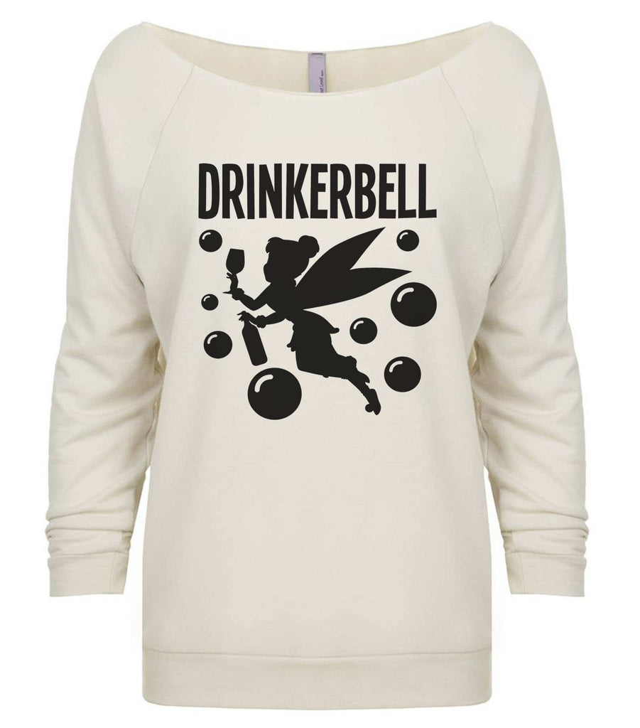 Drinkerbell 3/4 Sleeve Raw Edge French Terry Cut - Dolman Style Very Trendy Funny Shirt Small / Beige