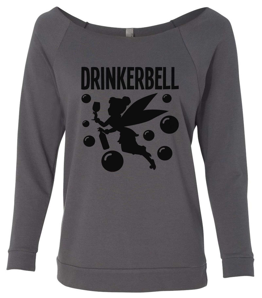 Drinkerbell 3/4 Sleeve Raw Edge French Terry Cut - Dolman Style Very Trendy Funny Shirt Small / Charcoal Dark Gray