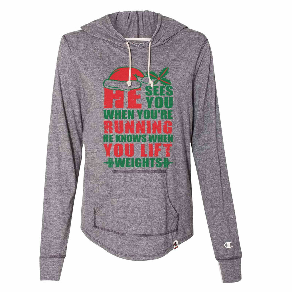 He Sees You When You'Re Running He Knows When You Lift Weights - Womens Champion Brand Hoodie - Hooded Sweatshirt Funny Shirt Small / Dark Grey