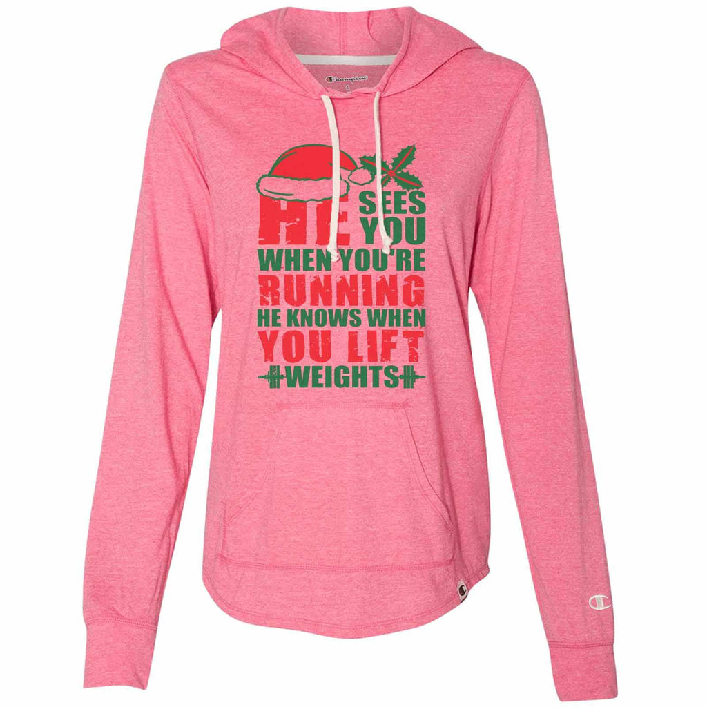 He Sees You When You'Re Running He Knows When You Lift Weights - Womens Champion Brand Hoodie - Hooded Sweatshirt Funny Shirt Small / Pink