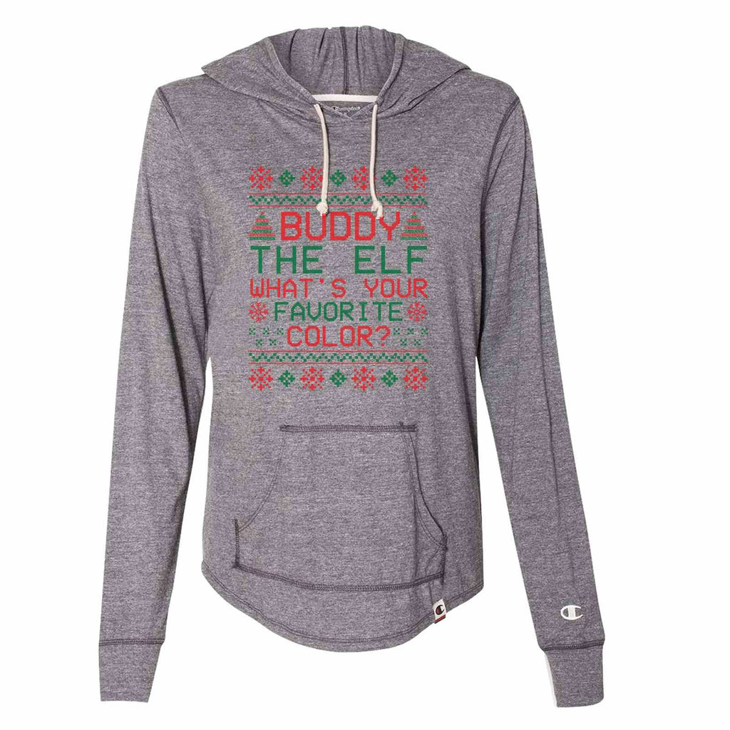 Buddy The Elf What's Your Favorite Color? - Womens Champion Brand Hoodie - Hooded Sweatshirt Funny Shirt Small / Dark Grey