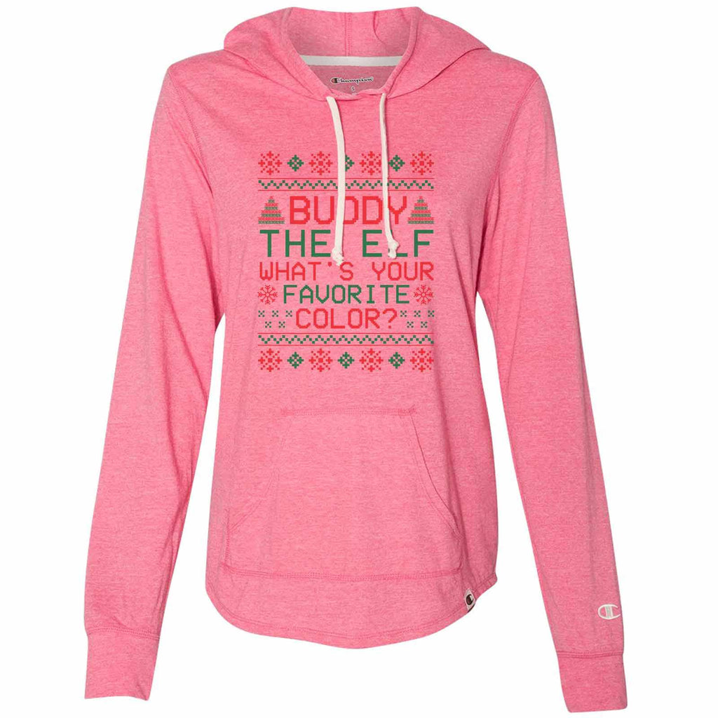 Buddy The Elf What's Your Favorite Color? - Womens Champion Brand Hoodie - Hooded Sweatshirt Funny Shirt Small / Pink
