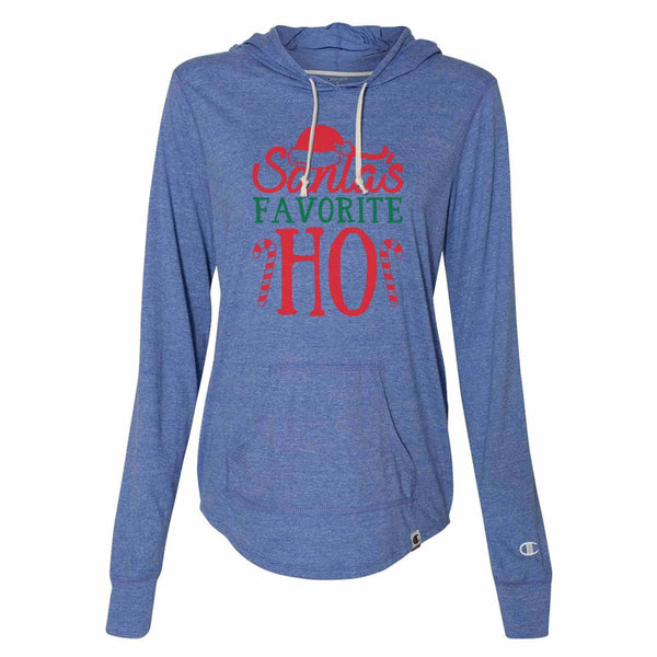 Santa's Favorite Ho - Womens Champion Brand Hoodie - Hooded Sweatshirt Funny Shirt Small / Blue