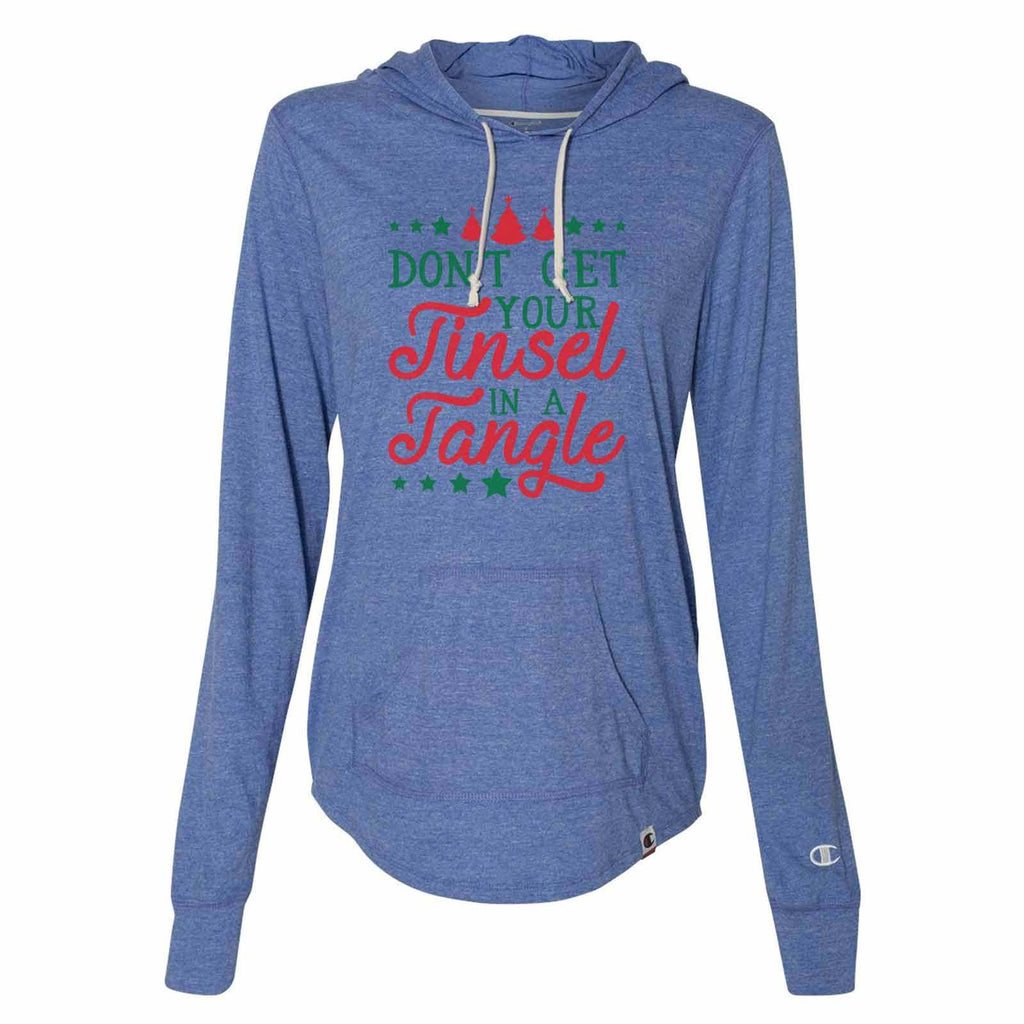 Don't Get Your Tinsel In A Tangle - Womens Champion Brand Hoodie - Hooded Sweatshirt Funny Shirt Small / Blue
