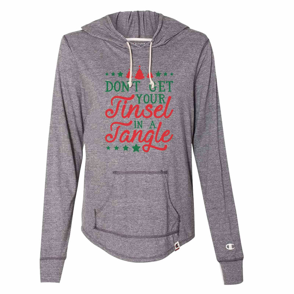 Don't Get Your Tinsel In A Tangle - Womens Champion Brand Hoodie - Hooded Sweatshirt Funny Shirt Small / Dark Grey
