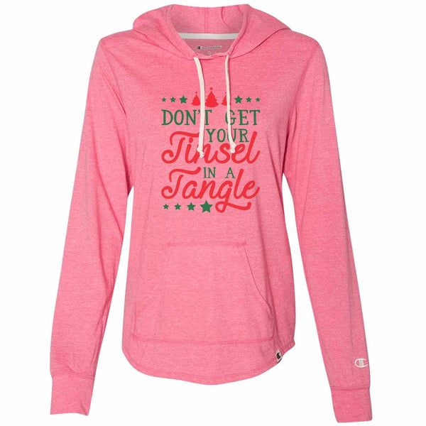 Don't Get Your Tinsel In A Tangle - Womens Champion Brand Hoodie - Hooded Sweatshirt Funny Shirt Small / Pink