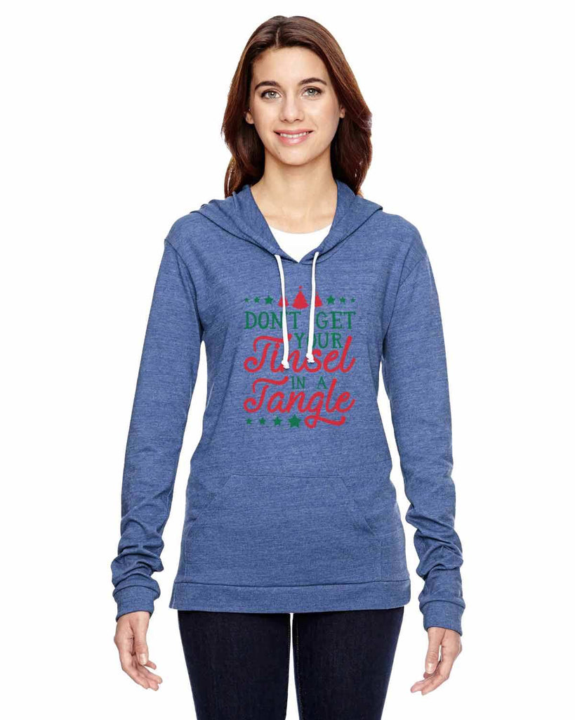 Don't Get Your Tinsel In A Tangle - Womens Champion Brand Hoodie - Hooded Sweatshirt Funny Shirt