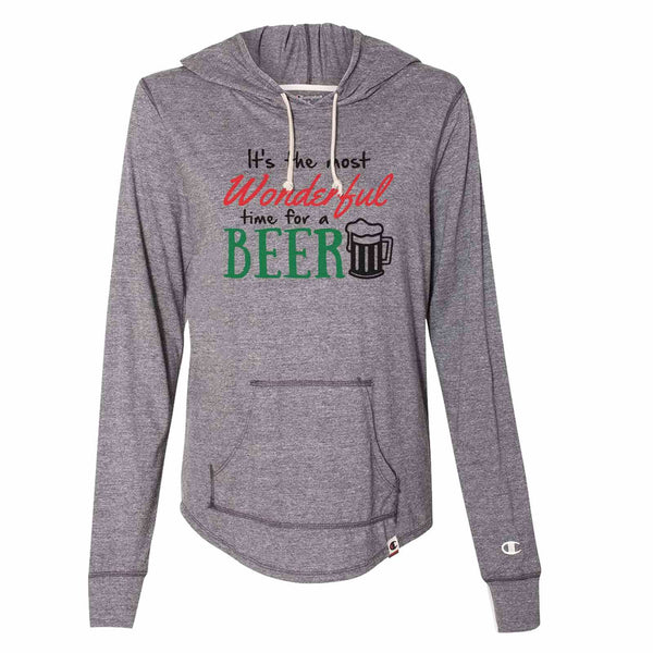 It's The Most Wonderful Time For A Beer - Womens Champion Brand Hoodie - Hooded Sweatshirt Funny Shirt Small / Dark Grey