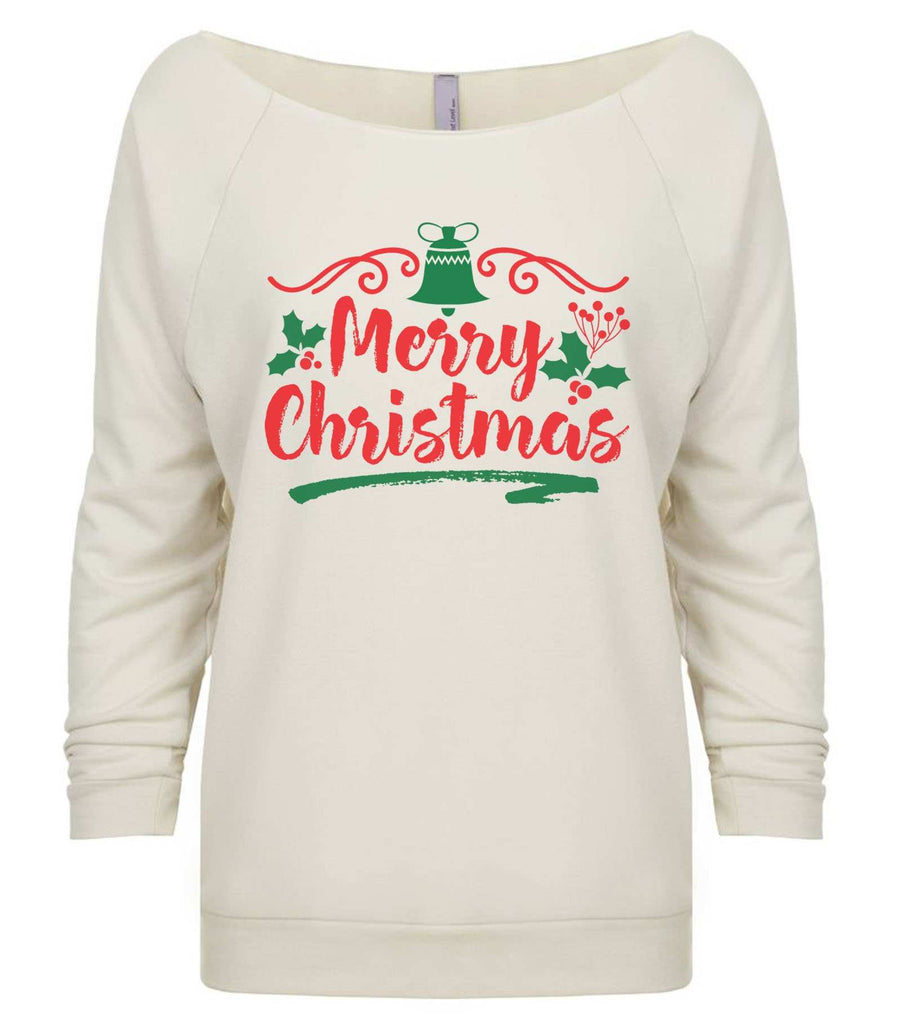 Merry Christmas 3/4 Sleeve Raw Edge French Terry Cut - Dolman Style Very Trendy Funny Shirt Small / Beige