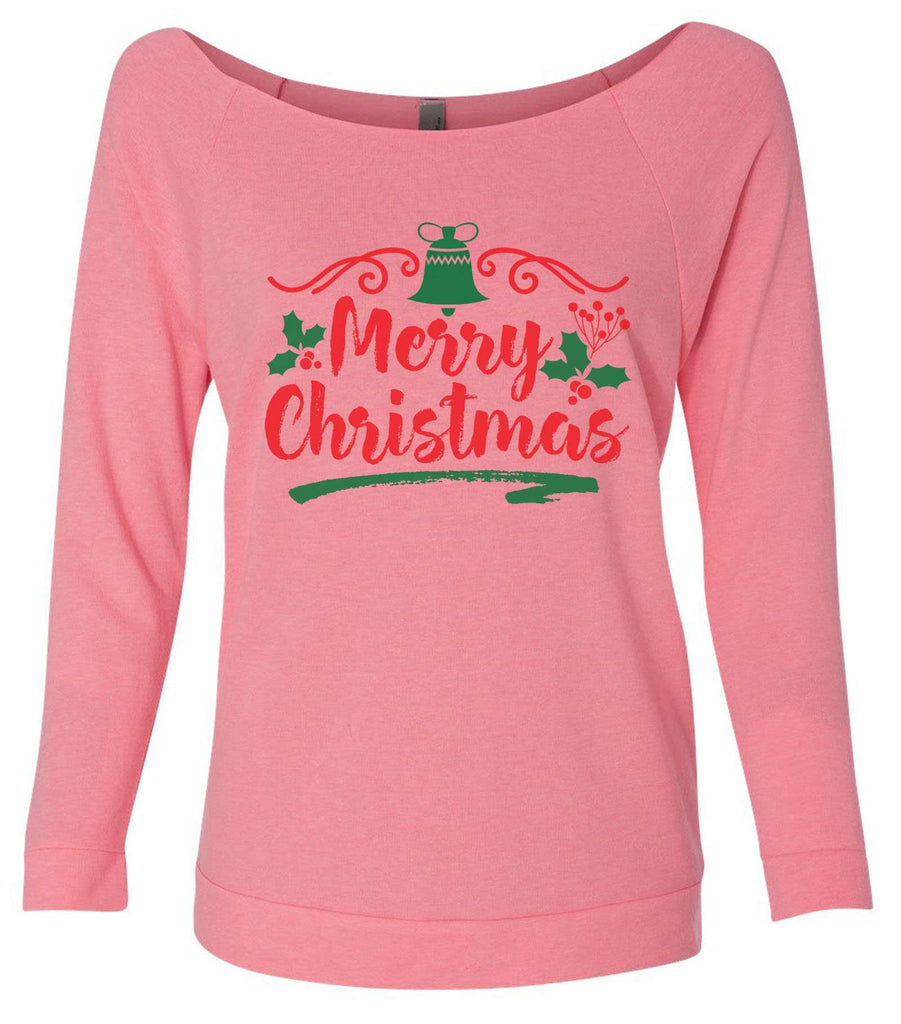 Merry Christmas 3/4 Sleeve Raw Edge French Terry Cut - Dolman Style Very Trendy Funny Shirt Small / Pink