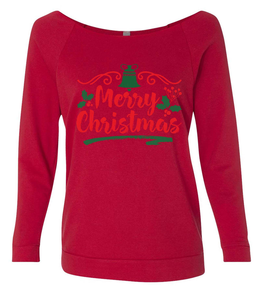 Merry Christmas 3/4 Sleeve Raw Edge French Terry Cut - Dolman Style Very Trendy Funny Shirt Small / Red