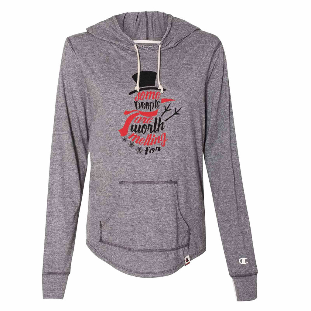 Some People Are Worth Melting For - Womens Champion Brand Hoodie - Hooded Sweatshirt Funny Shirt Small / Dark Grey