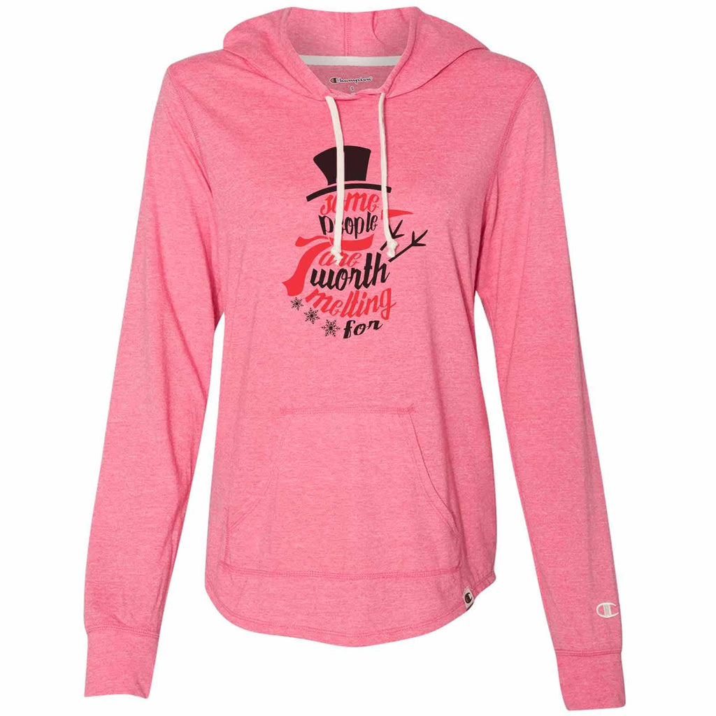 Some People Are Worth Melting For - Womens Champion Brand Hoodie - Hooded Sweatshirt Funny Shirt Small / Pink