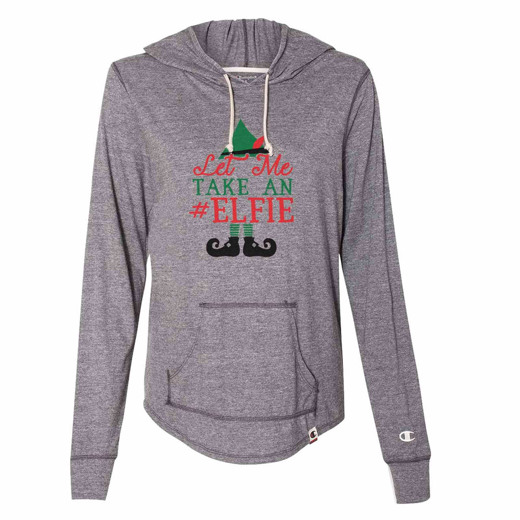 Let Me Take An Elfie - Womens Champion Brand Hoodie - Hooded Sweatshirt Funny Shirt Small / Dark Grey