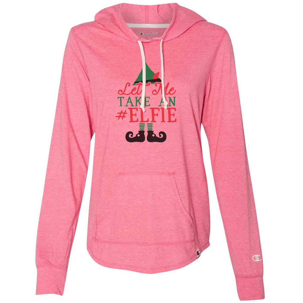 Let Me Take An Elfie - Womens Champion Brand Hoodie - Hooded Sweatshirt Funny Shirt Small / Pink