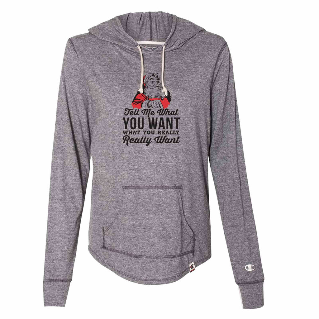 Tell Me What You Want What You Really Want - Womens Champion Brand Hoodie - Hooded Sweatshirt Funny Shirt Small / Dark Grey