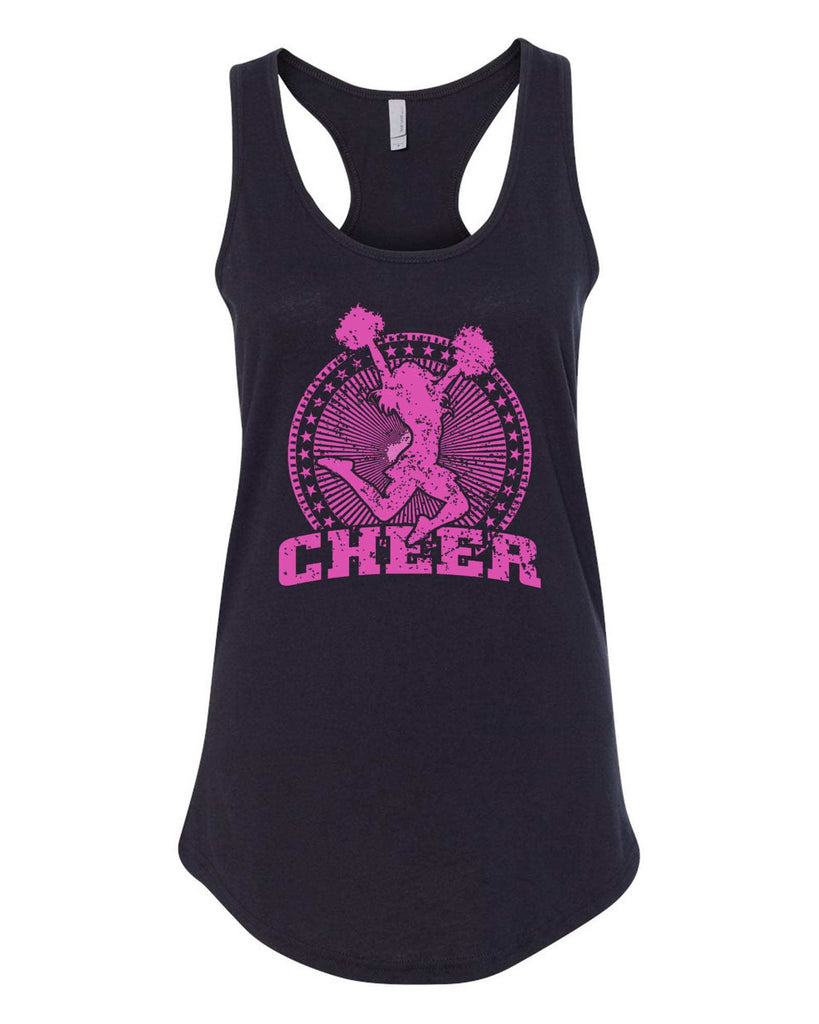 Womens Cheerleader Cheer Grapahic Design Fitted Tank Top Funny Shirt Small / Black