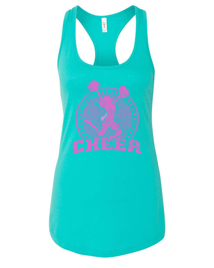 Womens Cheerleader Cheer Grapahic Design Fitted Tank Top Funny Shirt Small / Sky Blue