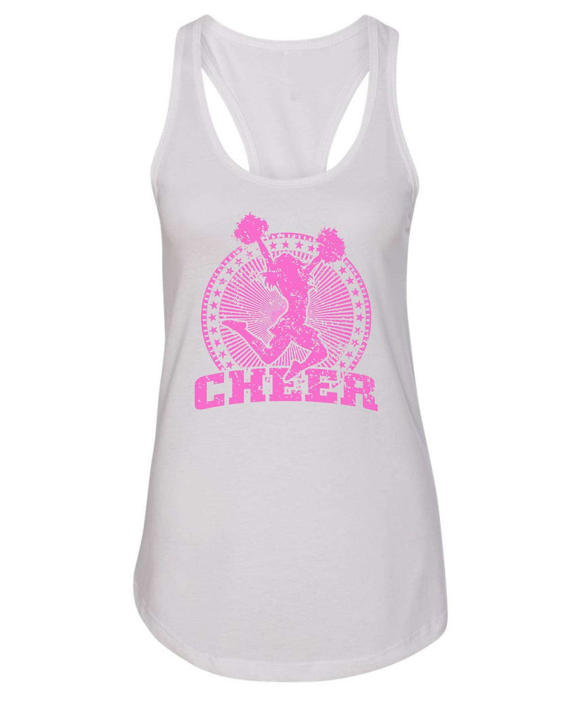 Womens Cheerleader Cheer Grapahic Design Fitted Tank Top Funny Shirt Small / White