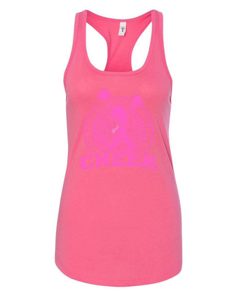 Womens Cheerleader Cheer Grapahic Design Fitted Tank Top Funny Shirt Small / Fuchsia