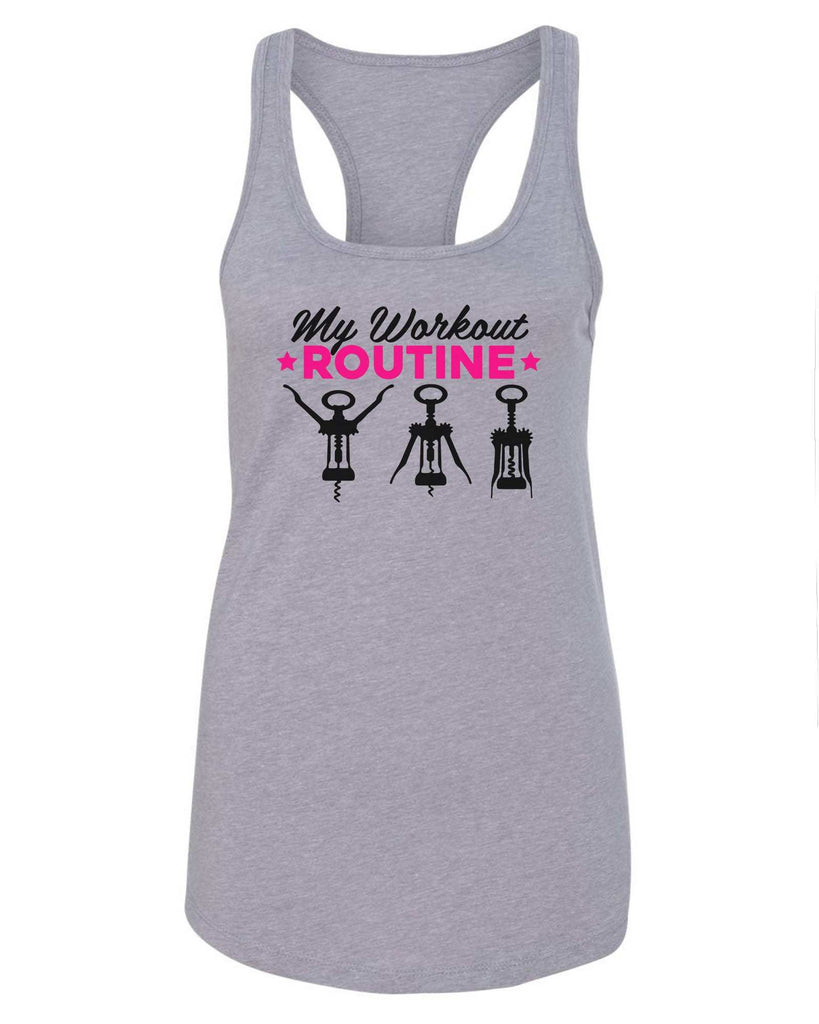 Womens My Workout Routine Grapahic Design Fitted Tank Top Funny Shirt Small / Grey