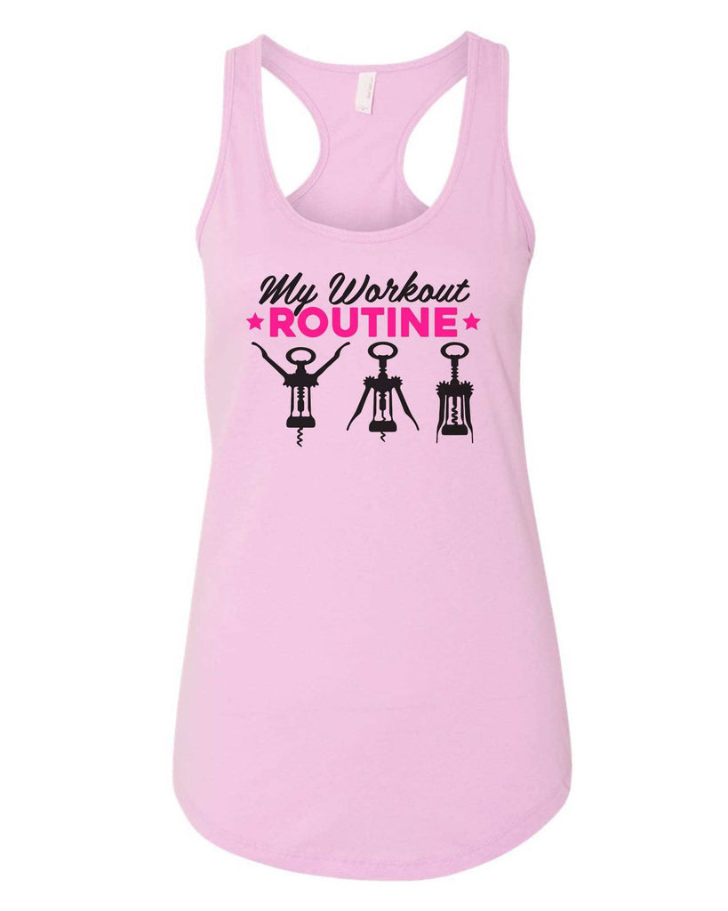 Womens My Workout Routine Grapahic Design Fitted Tank Top Funny Shirt Small / Lilac