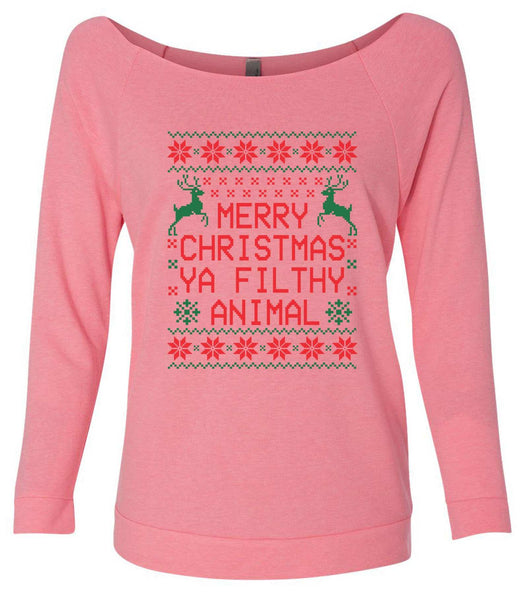 Merry Christmas Ya Filthy Animal 3/4 Sleeve Raw Edge French Terry Cut - Dolman Style Very Trendy Funny Shirt Small / Pink