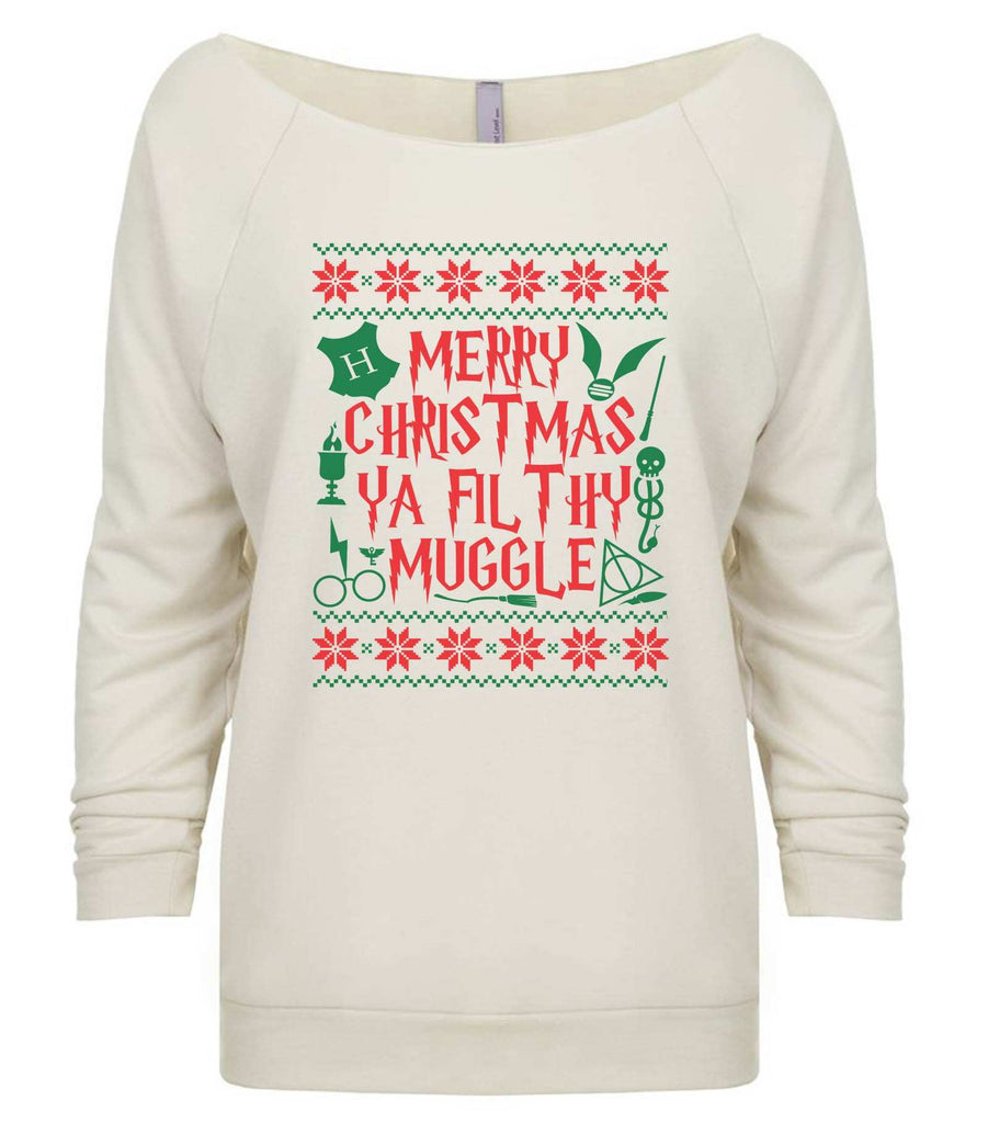 Merry Christmas Ya Filthy Muggle 3/4 Sleeve Raw Edge French Terry Cut - Dolman Style Very Trendy Funny Shirt Small / Beige