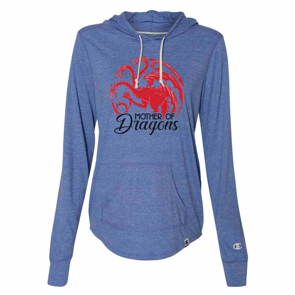 Mother Of Dragons - Womens Champion Brand Hoodie - Hooded Sweatshirt Funny Shirt Small / Blue