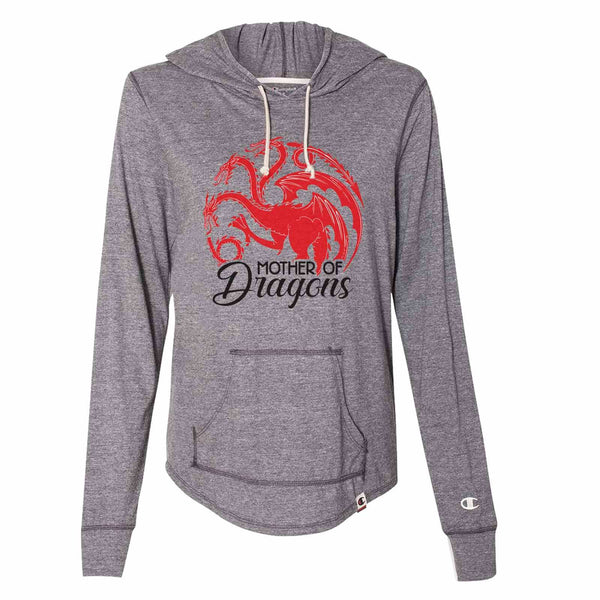 Mother Of Dragons - Womens Champion Brand Hoodie - Hooded Sweatshirt Funny Shirt Small / Dark Grey