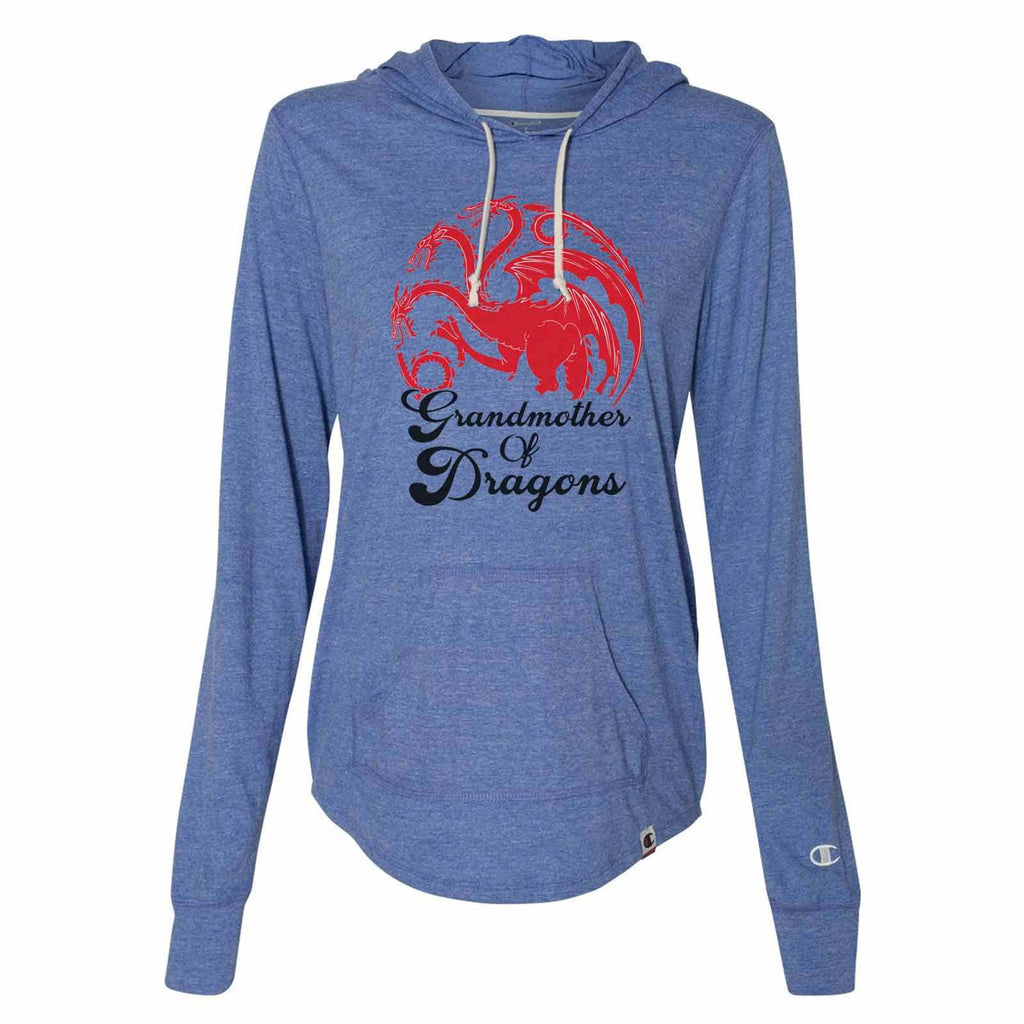 Grandmother Of Dragons - Womens Champion Brand Hoodie - Hooded Sweatshirt Funny Shirt Small / Blue