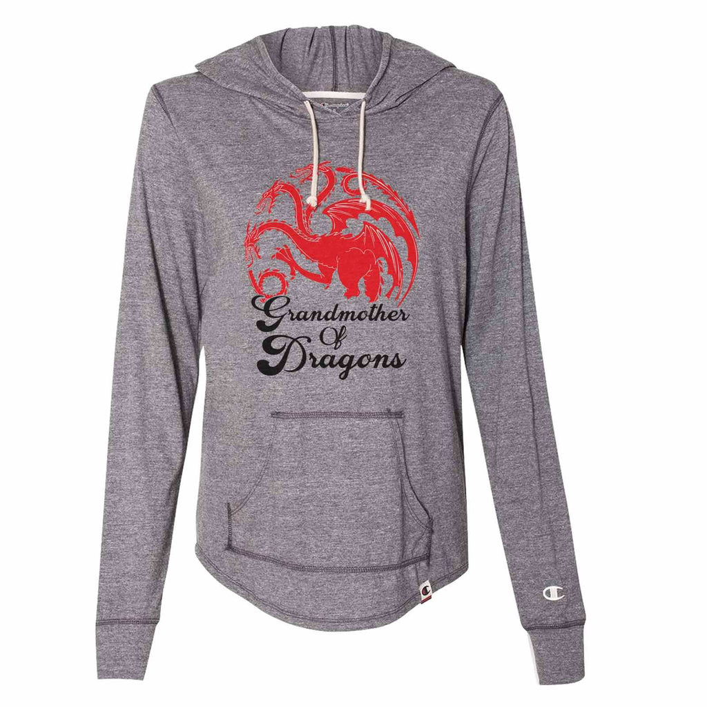 Grandmother Of Dragons - Womens Champion Brand Hoodie - Hooded Sweatshirt Funny Shirt Small / Dark Grey