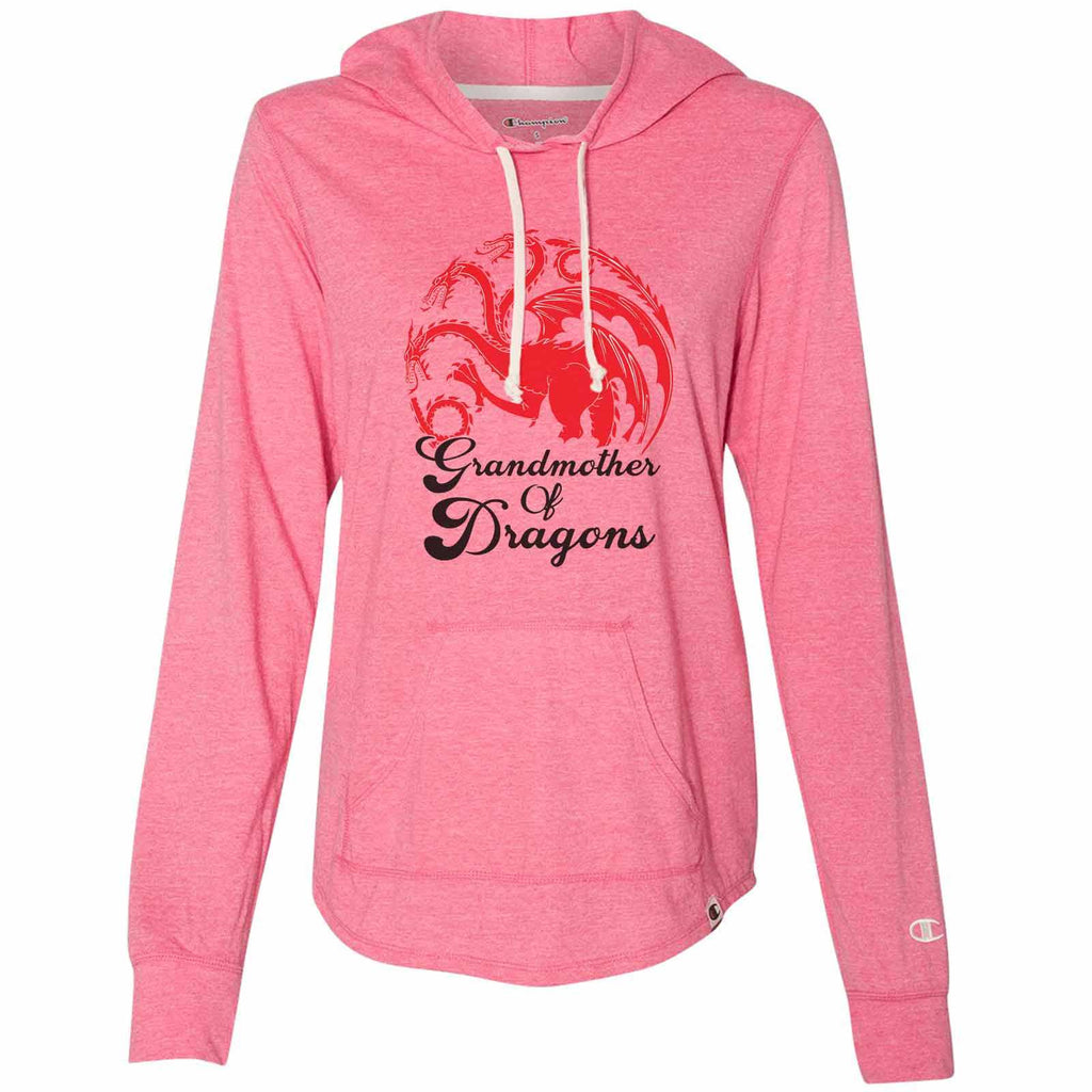 Grandmother Of Dragons - Womens Champion Brand Hoodie - Hooded Sweatshirt Funny Shirt Small / Pink