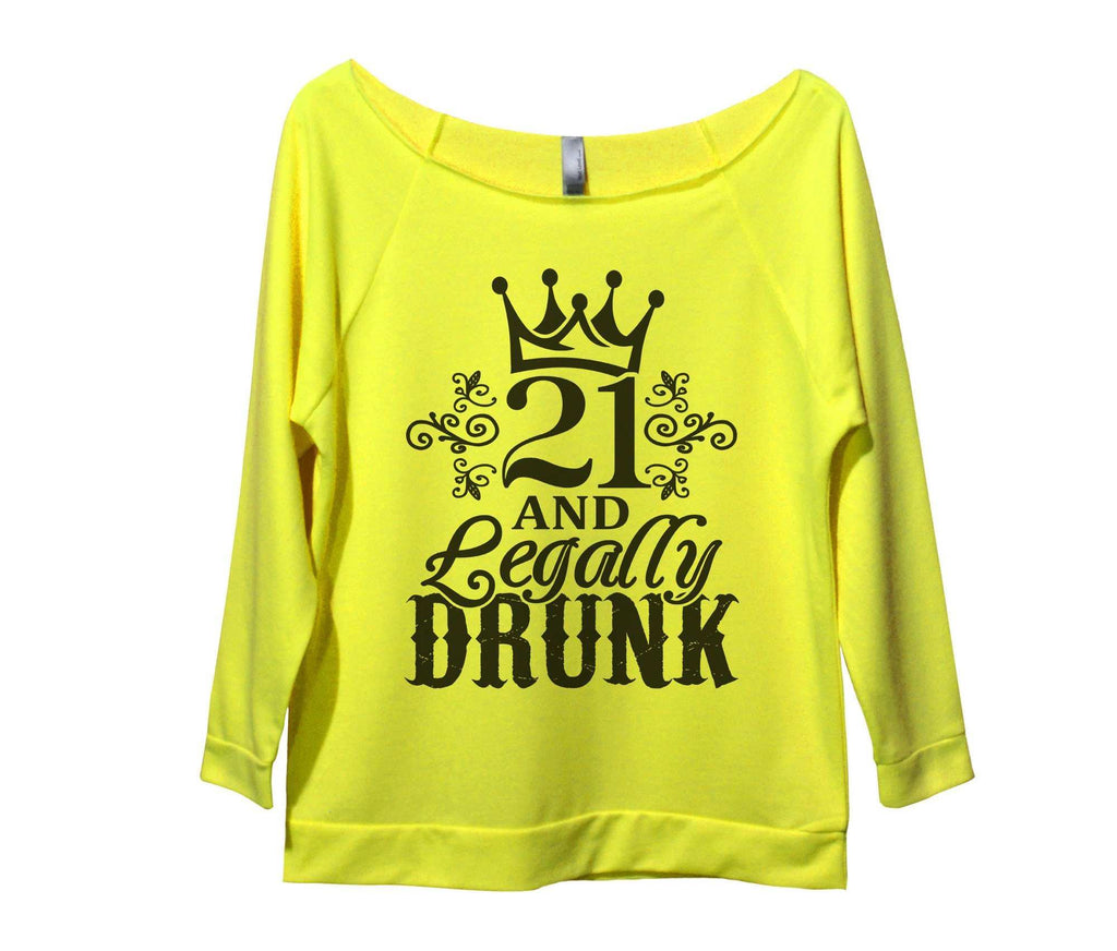 21 And Legally Drunk Womens 3/4 Long Sleeve Vintage Raw Edge Shirt Funny Shirt Small / Neon Yellow