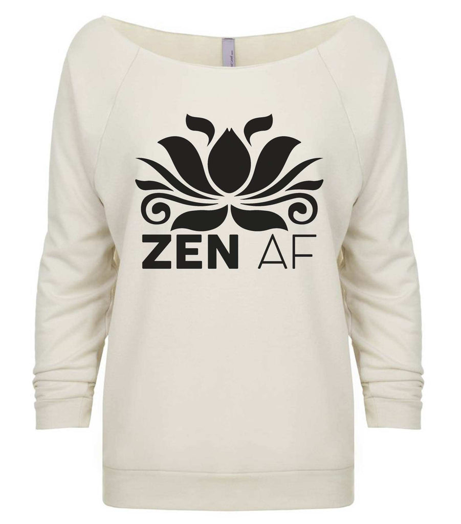 Zen AF 3/4 Sleeve Raw Edge French Terry Cut - Dolman Style Very Trendy Funny Shirt Small / Beige