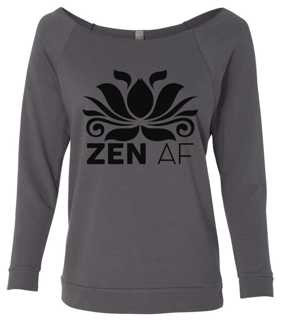 Zen AF 3/4 Sleeve Raw Edge French Terry Cut - Dolman Style Very Trendy Funny Shirt Small / Charcoal Dark Gray