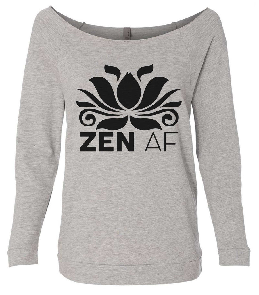 Zen AF 3/4 Sleeve Raw Edge French Terry Cut - Dolman Style Very Trendy Funny Shirt Small / Grey
