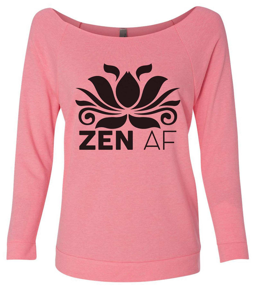 Zen AF 3/4 Sleeve Raw Edge French Terry Cut - Dolman Style Very Trendy Funny Shirt Small / Pink